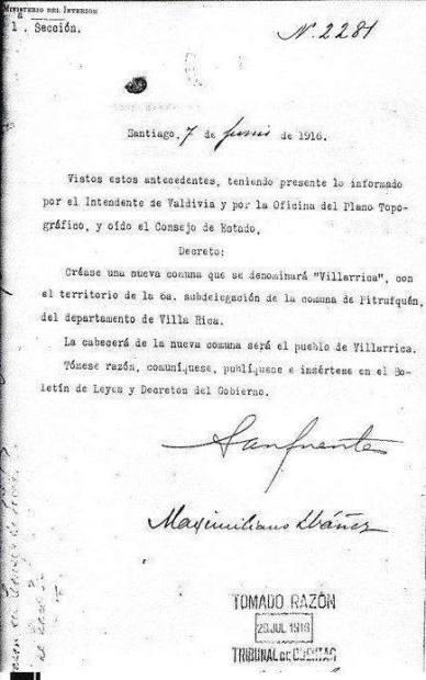Villarica decreto