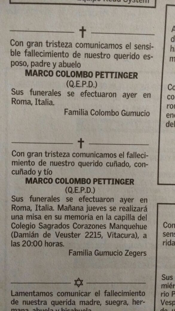 Marco Colombo (qepd) | Boletin WALINTONIA